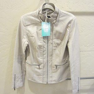 LA Coalition Faux Leather Cream Jacket  M